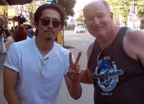 "Verne with Steven Yuen who plays Glen Rhee on ""The Walking Dead"""